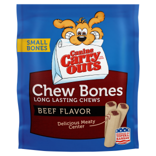 Canine Carry Outs® Chew Bones Beef Flavor Dog Snacks;2.8 oz. Small Bones Stand-Up Bag