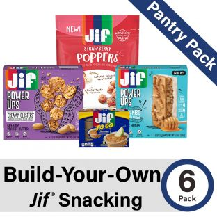 Build-Your-Own Jif Snacking Pantry Pack by picking six (6) items across Jif Poppers, Jif Power Ups, and Jif-To-Go!
