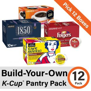 Build-Your-Own K-Cup 12 Pack. Pick twelve (12) boxes from four of our coffee brands: Folgers, Cafe Bustelo, 1850, and Dunkin' Donuts!