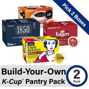 Build-Your-Own K-Cup 2 Pack. Pick two (2) boxes from four of our coffee brands: Folgers, Cafe Bustelo, 1850, and Dunkin' Donuts!