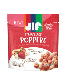 Jif® Poppers™ Peanut Butter Coated Popcorn and Dried Strawberries;6oz Bag