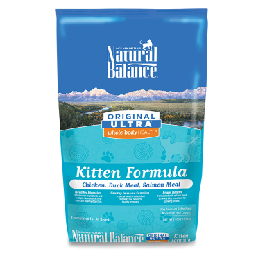 Natural Balance Original Ultra® Whole Body Health® Chicken;Duck Meal;Salmon Meal Kitten formula Dry Cat Food 2lb. Bag