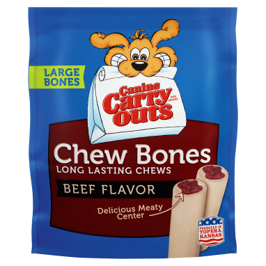 Canine Carry Outs® Chew Bones Beef Flavor Dog Snacks;14 oz. Large Bones Stand-Up Bag