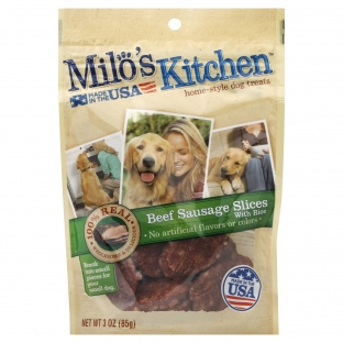 Milo's Kitchen® Beef Sausage Slices With Rice Dog Treats;3 oz.