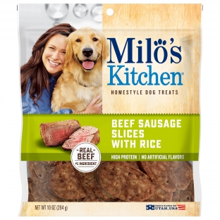 Milo's Kitchen® Beef Sausage Slices With Rice Dog Treats;10 oz.