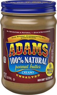 Adams® Natural Creamy Unsalted Peanut Butter (16 oz)