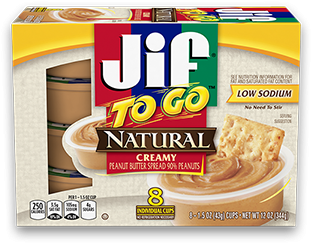 Jif To Go® Natural Peanut Butter Spread;1.5 oz Cups (8 Count)